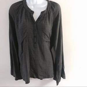 Winter Kate black and white silk top, size S